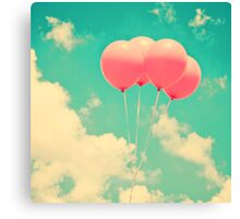 Balloons in the sky (pink ballons in retro blue sky) Canvas Print