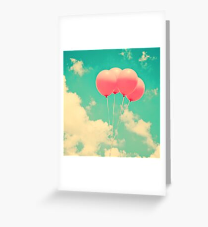 Balloons in the sky (pink ballons in retro blue sky) Greeting Card