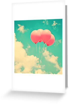 Balloons in the sky (pink ballons in retro blue sky) by Andreka
