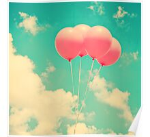 Balloons in the sky (pink ballons in retro blue sky) Poster