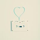 Music retro white cassette and blue tape heart shaped by Andreka