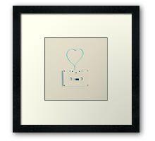 Music retro white cassette and blue tape heart shaped Framed Print