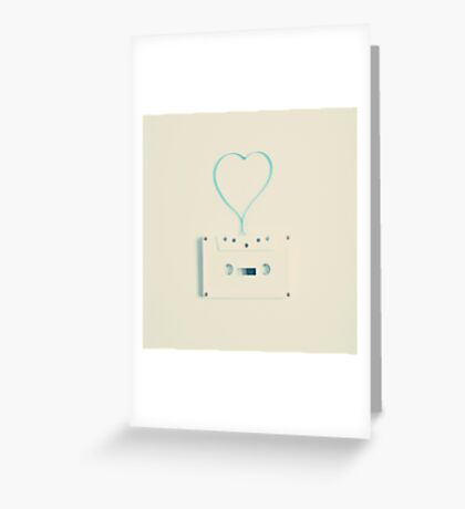 Music retro white cassette and blue tape heart shaped Greeting Card