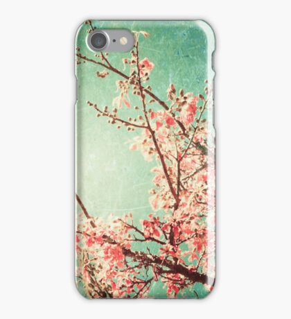 Pink Autumn Leafs on Blue Textured Sky (Vintage Nature Photography) iPhone Case/Skin