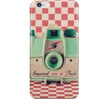Mint Retro Camera on Red Chequered Background  iPhone Case/Skin