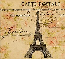 vintage floral retro  paris eiffel tower by lfang77