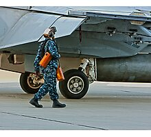 Walking with an F/A 18 Photographic Print