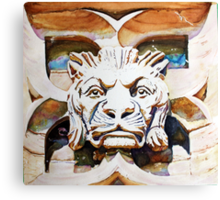 The Lion King - Watercolor of Canadian Parliament Building Carving Canvas Print