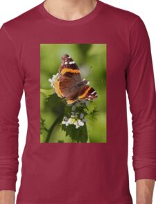 Red Admiral Butterfly Portrait Long Sleeve T-Shirt