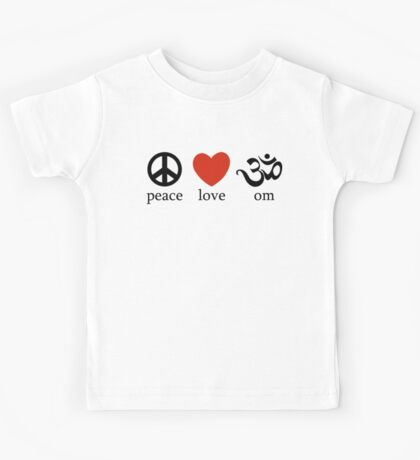 Peace Love Om Yoga T-Shirt Kids Tee