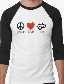 Peace Love Om Yoga T-Shirt Men's Baseball ¾ T-Shirt