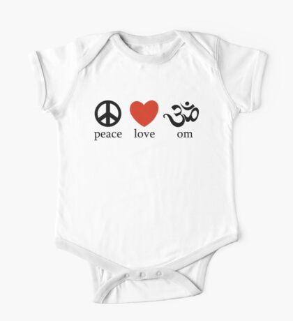 Peace Love Om Yoga T-Shirt One Piece - Short Sleeve