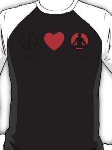 Peace Love Yoga T-Shirt T-Shirt
