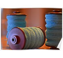 Bobbins of Yarn Blue Poster
