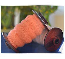 Spinning wheel bobbins orange yarn Poster