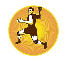 Handball Player Jumping Throwing Ball Scoring Retro by patrimonio