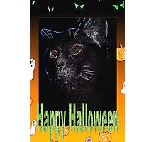 Black cat Halloween card Photographic Print