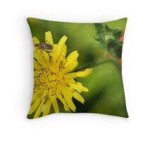 Chinch Bug on a Dandelion Flower Throw Pillow