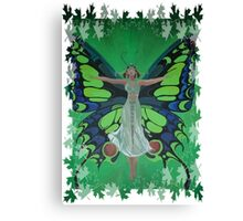 Flutterby Fairy With Leaf Border Isolated Canvas Print