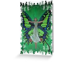Flutterby Fairy With Leaf Border Isolated Greeting Card
