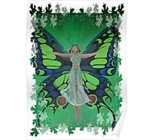 Flutterby Fairy With Leaf Border Isolated Poster