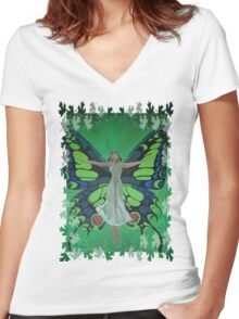 Flutterby Fairy With Leaf Border Isolated Women's Fitted V-Neck T-Shirt