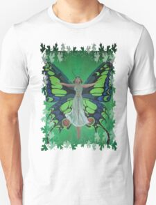 Flutterby Fairy With Leaf Border Isolated T-Shirt