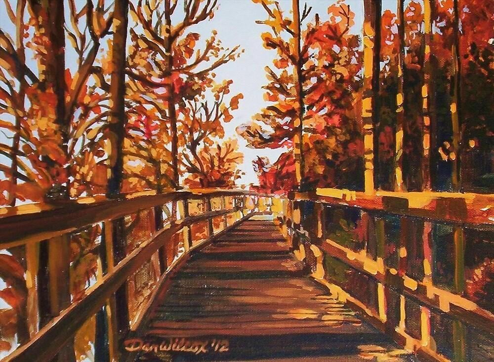 Boardwalk in fall by Dan Wilcox