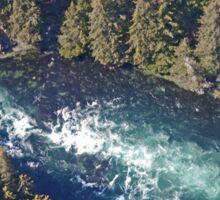 Aerial of a horizontal waterfall, Kodiak Island, Alaska, USA Sticker