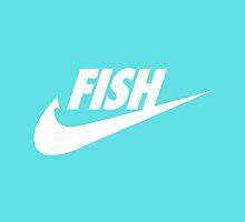 Fwish Hook - White on Tiffany Blue by fishermenclub