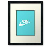 Fwish Hook - White on Tiffany Blue Framed Print
