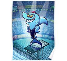 Olympic Swimmer Shark Poster