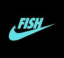 Fwish Hook - Tiffany Blue on Black by fishermenclub