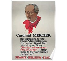 Cardinal Mercier has appealed to the Food Administration for more food for starving millions Poster