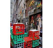 Street Art in Crates - Melbourne, Australia Photographic Print