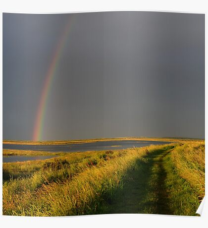 Rainbow over Peddlar's Way, Burnham, Norfolk Poster