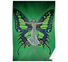 Art Nouveau Vintage Flapper With Butterfly Wings Poster