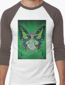 Art Nouveau Vintage Flapper With Butterfly Wings Men's Baseball ¾ T-Shirt