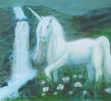 Unicorn by Waterfall by Kathy Cristofaro