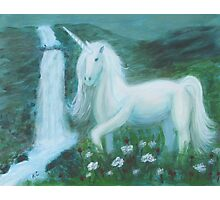 Unicorn by Waterfall Photographic Print