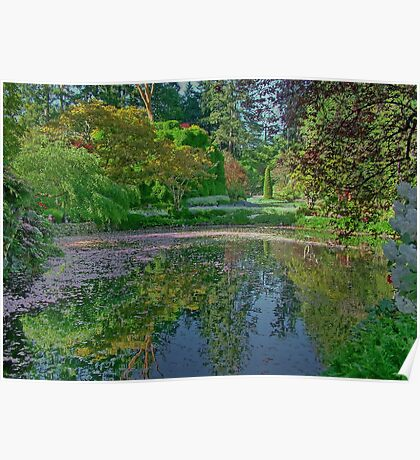 The Lake in Butchart Gardens, Victoria, Canada Poster