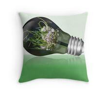 Leek flower inside a light bulb Throw Pillow