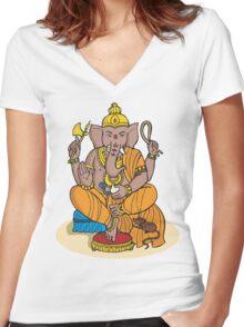 Ganesha T-Shirt Women's Fitted V-Neck T-Shirt