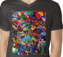 3D Acid Wash Paint 8.  Mens V-Neck T-Shirt