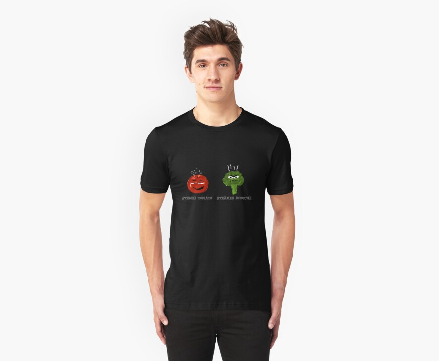 Funny Veggies Broccoli and Tomato by Sarah Countiss