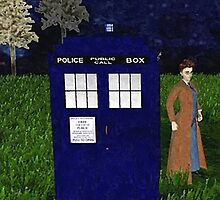 Dr Who David Tennent outside Tardis by YodaWars