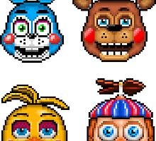 Five Nights at Freddy's 2 - Pixel art - Toy Animatronics sticker pack by GEEKsomniac