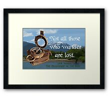 Not all Those who Wander are Lost, Tolkien, LOTR (scenic background) Framed Print