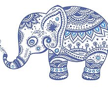 Cute Navy Blue Retro Floral Elephant by artonwear