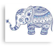 Cute Navy Blue Retro Floral Elephant Canvas Print